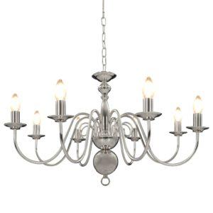 Kronleuchter Silbern 8×E14-Glühbirnen