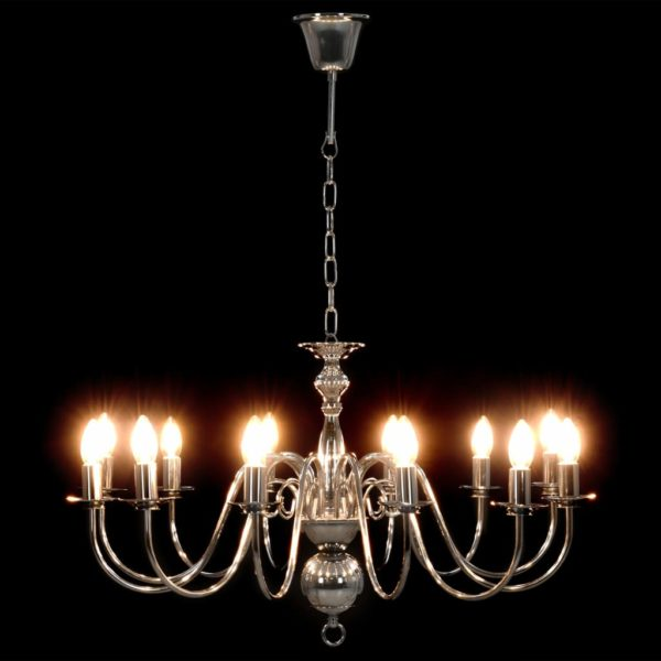 Kronleuchter Silbern 12×E14-Glühbirnen