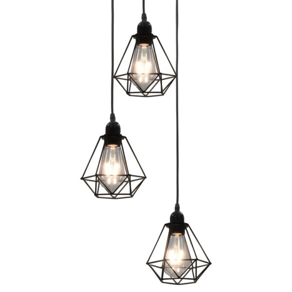 Deckenleuchte mit Diamant-Design Schwarz 3 x E27 Glühbirnen