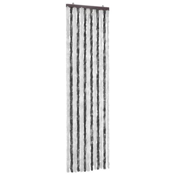 Insektenschutz-Vorhang Grau und Weiß 56×185 cm Chenille
