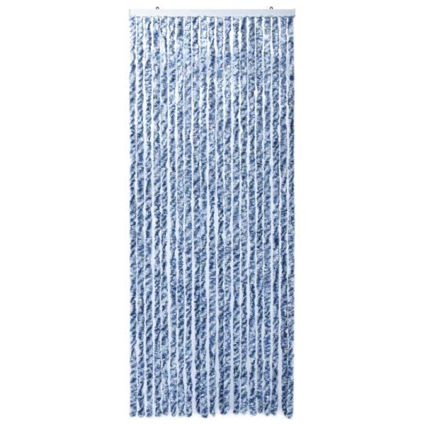 Insektenschutz-Vorhang Blau, Weiß und Silbern 90x220cm Chenille