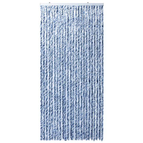 Insektenschutz-Vorhang Blau Weiß Silbern 100x220cm Chenille