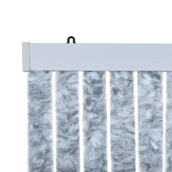 Insektenschutz-Vorhang Weiß und Grau 90×220 cm Chenille