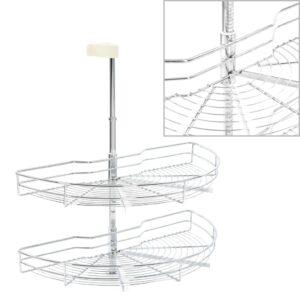 2-stufiger Küchen-Drahtkorb Silbern 180 Grad 75x38x80 cm