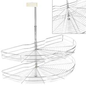 2-stufiger Küchen-Drahtkorb Silbern 180 Grad 85x44x80 cm