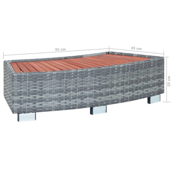 Spa-Einstiegsstufe Grau Poly Rattan 92×45×25 cm