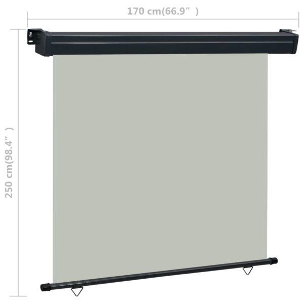Balkon-Seitenmarkise 170 × 250 cm Grau