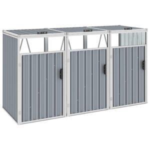 Mülltonnenbox für 3 Mülltonnen Grau 213×81×121 cm Stahl