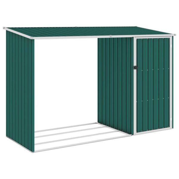 Garten Brennholzlager Grün 245x98x159 cm Verzinkter Stahl