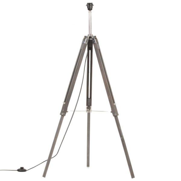 Stativlampe Grau und Weiß Teak Massivholz 141 cm