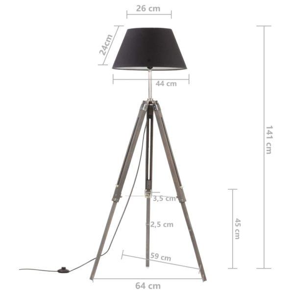 Stativlampe Schwarz und Golden Teak Massivholz 141 cm