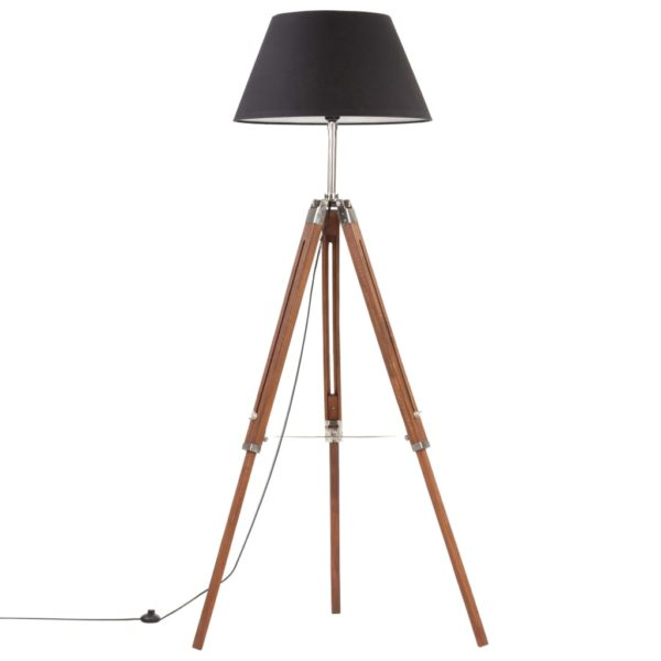 Stativlampe Honigbraun und Schwarz Teak Massivholz 141 cm