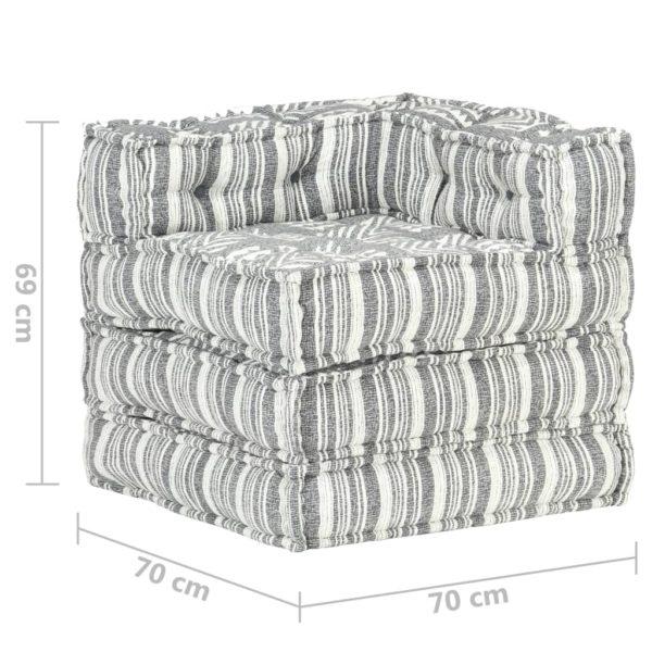 Modularer Pouf Grau Gestreift Stoff