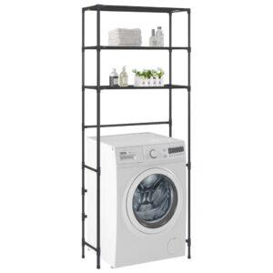 Waschmaschinen-Regal mit 3 Ablagen Schwarz 69×28×169 cm