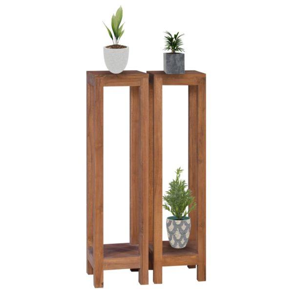 Pflanzenständer 2-tlg. 25x25x100 cm Teak Massivholz