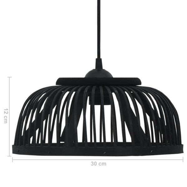 Pendelleuchte Schwarz Bambus 40W 30×12 cm Halbrund E27