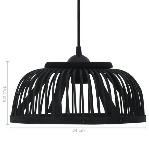 Pendelleuchte Schwarz Bambus 40W 34×14,5 cm Halbrund E27