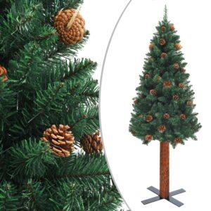 Schlanker Weihnachtsbaum mit Echtholz und Zapfen Grün 210cm PVC