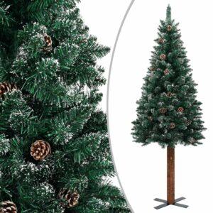 Schlanker Weihnachtsbaum mit Echtholz und Schnee Grün 210 cm