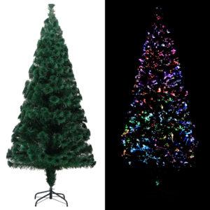 Künstlicher Weihnachtsbaum mit Ständer Grün 180 cm Fiberoptik