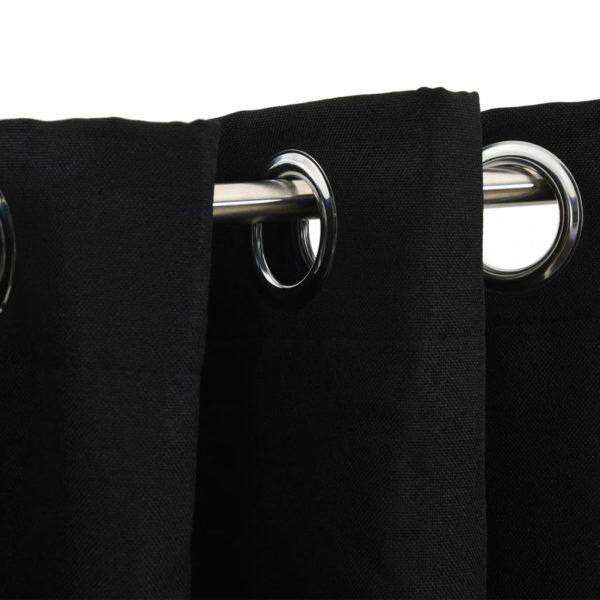 Verdunkelungsvorhänge mit Ösen Leinenoptik Schwarz 290×245 cm