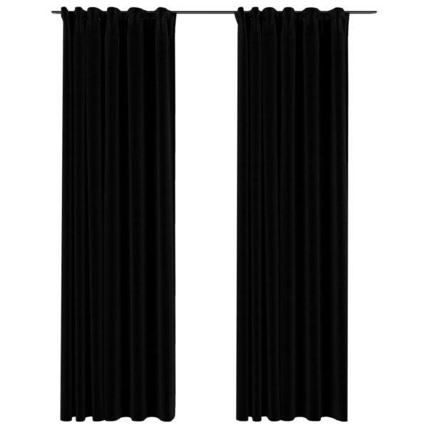 Verdunkelungsvorhänge Haken Leinenoptik 2Stk. Schwarz 140x225cm