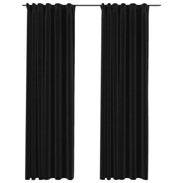 Verdunkelungsvorhänge mit Haken Leinenoptik 2 Stk. 140×225 cm