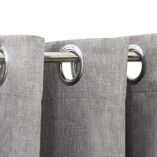 Verdunkelungsvorhänge mit Ösen Leinenoptik Grau 290×245 cm