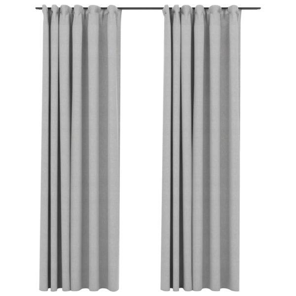 Verdunkelungsvorhänge Haken Leinenoptik 2 Stk. Grau 140×225 cm