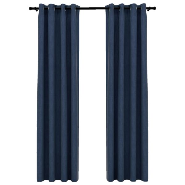 Verdunkelungsvorhänge Ösen Leinenoptik 2 Stk. Blau 140×245 cm