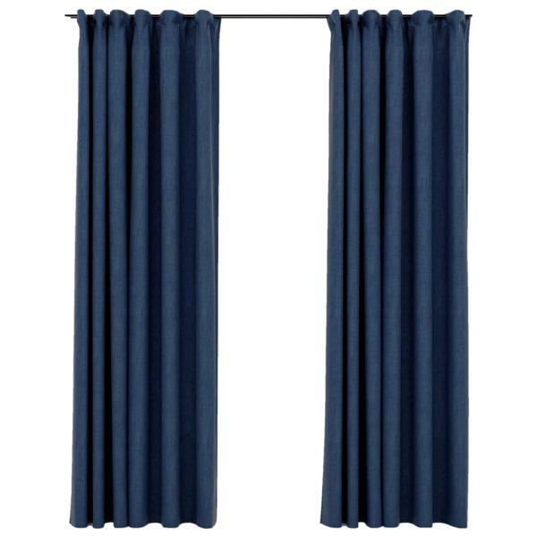 Verdunkelungsvorhänge Haken Leinenoptik 2 Stk. Blau 140x225cm