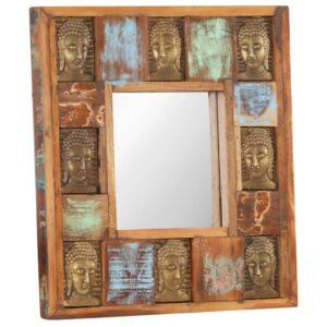 Spiegel mit Buddha-Verzierung 50×50 cm Recyceltes Massivholz