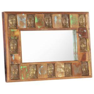 Spiegel mit Buddha-Verzierung 80×50 cm Recyceltes Massivholz