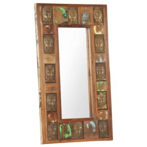 Spiegel mit Buddha-Verzierung 50×80 cm Recyceltes Massivholz