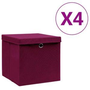 Aufbewahrungsboxen mit Deckeln 4 Stk. 28x28x28 cm Dunkelrot