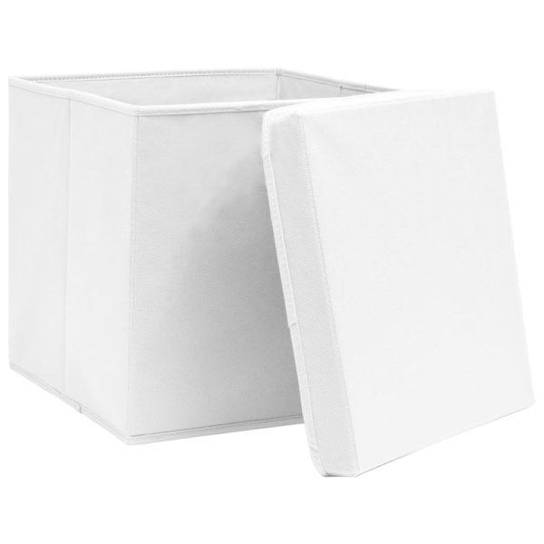 Aufbewahrungsboxen mit Deckeln 10 Stk. 28x28x28 cm Weiß