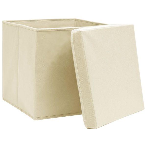Aufbewahrungsboxen mit Deckeln 4 Stk. 28x28x28 cm Creme