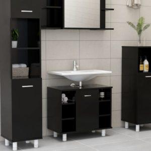Badezimmerschrank Schwarz 60x32x53,5 cm Spanplatte