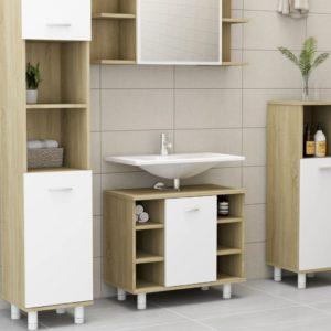 Badezimmerschrank Weiß Sonoma-Eiche 60x32x53,5 cm Spanplatte