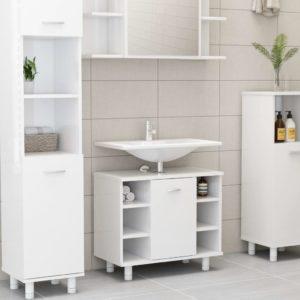 Badezimmerschrank Hochglanz-Weiß 60x32x53,5 cm Spanplatte