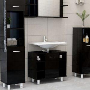 Badezimmerschrank Hochglanz-Schwarz 60x32x53,5 cm Spanplatte