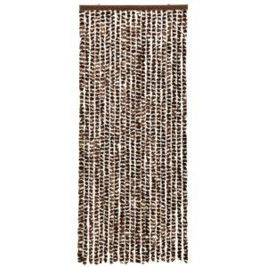 Insektenschutz-Vorhang Braun und Weiß 56×185 cm Chenille