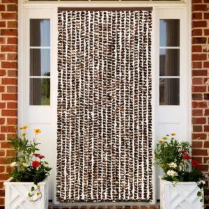 Insektenschutz-Vorhang Braun und Weiß 90×220 cm Chenille