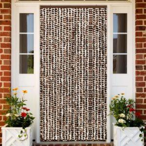 Insektenschutz-Vorhang Braun und Weiß 100×220 cm Chenille