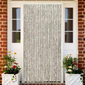 Insektenschutz-Vorhang Hell- und Dunkelgrau 90×220 cm Chenille