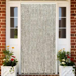 Insektenschutz-Vorhang Hell- und Dunkelgrau 100×220 cm Chenille