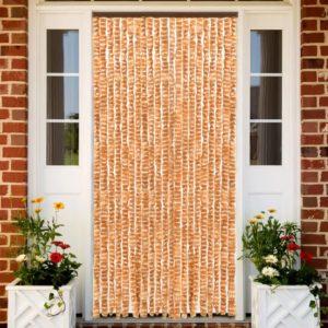 Insektenschutz-Vorhang Ocker und Weiß 90×220 cm Chenille