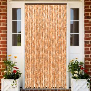 Insektenschutz-Vorhang Ocker und Weiß 100×220 cm Chenille