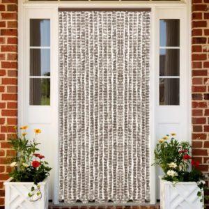 Insektenschutz-Vorhang Taupe und Weiß 56×185 cm Chenille