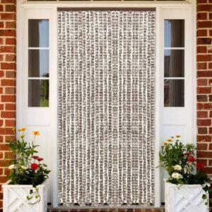Insektenschutz-Vorhang Taupe und Weiß 100×220 cm Chenille